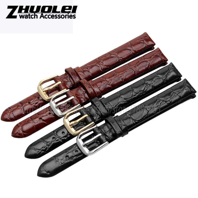 6mm 8mm 10mm watchband for Children watch strap Genuine leather black brown Fashion Bracelet Small size 6mm 8mm 10mm genuine leather ultrathin spun silk watchband for women ladies small size watch straps bracelet pin buckle