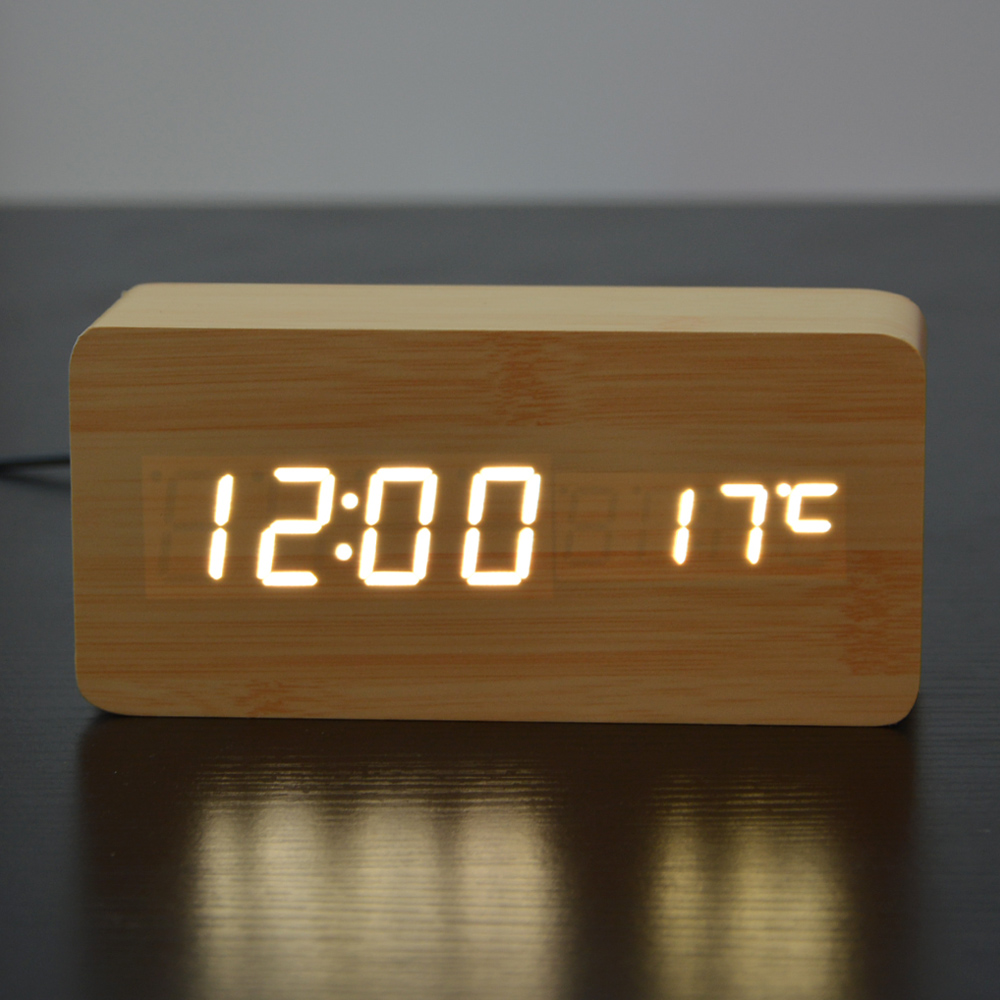 Voice craft digital talking thermometer - White Led Wooden Board Alarm Clock Temperature Thermometer Digital Watch Voice Activated Battery Usb Power Reloj Despertador In Alarm Clocks From Home
