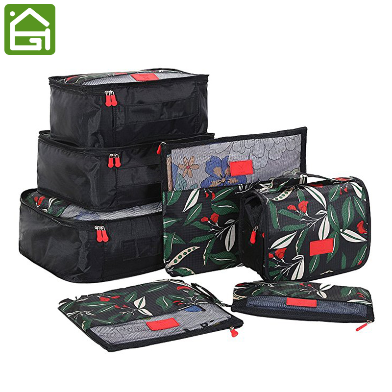 7pcs Floral Pattern Travel Storage Bag Set Luggage Suitcase Packing Organizer Cubes Laundry Shoe Pouch with Toiletry Bag Shoe Bags