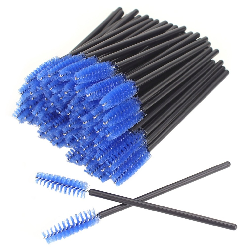 High Quality 500pcs lot make up brush Blue synthetic fiber One Off Disposable Eyelash Brush Mascara Applicator in Eye Shadow Applicator from Beauty Health