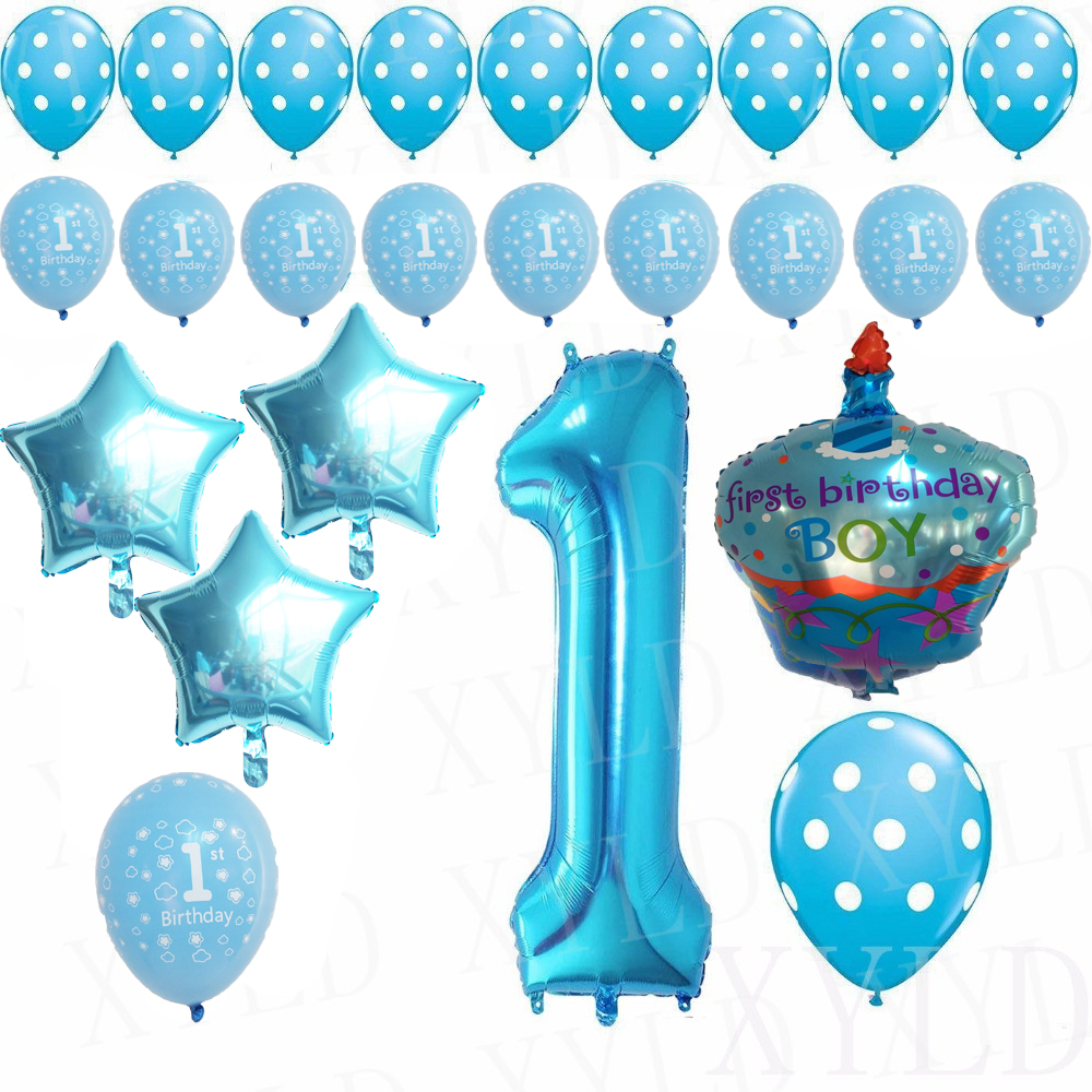 1st happy birthday balloons set party foil helium balloons. Black Bedroom Furniture Sets. Home Design Ideas
