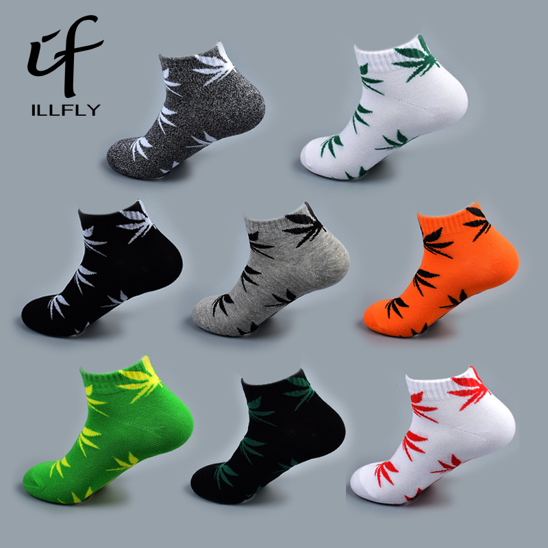 5 Pairs Bamboo Summer Men's Funny Ankle   Socks   Hemp Meias Short Happy Maple Leaf sokken Cotton Weed Men Grass White Black Socken