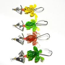 First Professional Hot Selling 4pcs Frog font b Fishing b font Lure Topwater Wobblers Soft Artificial