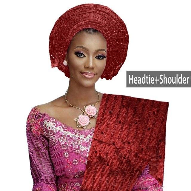 Đẹp chất lượng Châu Phi ASO oke gele headtie đính hạt headwrap Nigeria & Châu Phi Tiệc Cưới tự động gele W314
