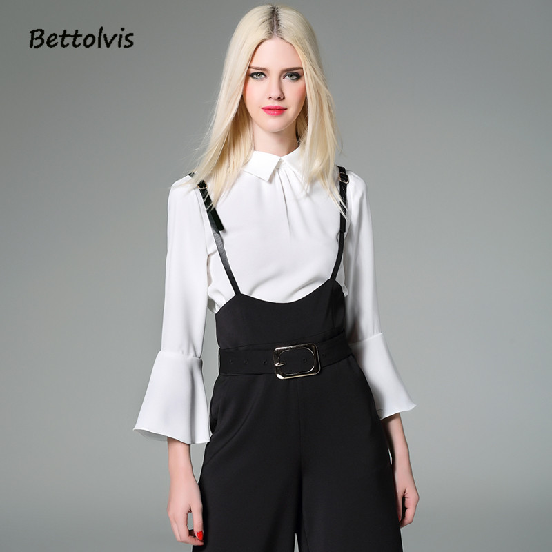2017 high quality new fashion designer blouse spring for Womens white shirts high quality