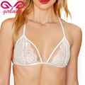 GIRLADY Floral Lace Bralette Cotton Bra Brassiere For Women Sexy White Strappy Ladies Bustier Bra Halter Mesh Top Underwear