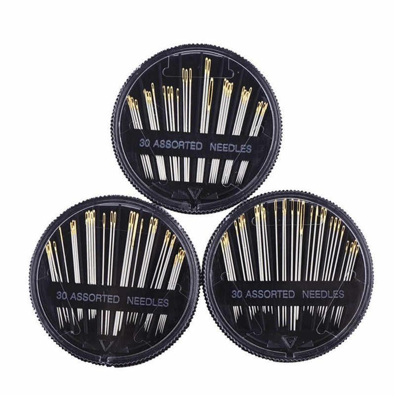 ISHOWTIENDA 30 pièces Kit de boîte à coudre accessoires assortis aiguilles à coudre à la main broderie