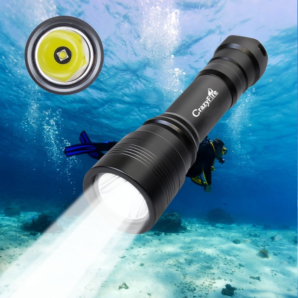 CrazyFire Diving Flashlight High Middle Low Modes Scuba Diving Flashlight 1050lm Underwater 150m Professional Submarine Light