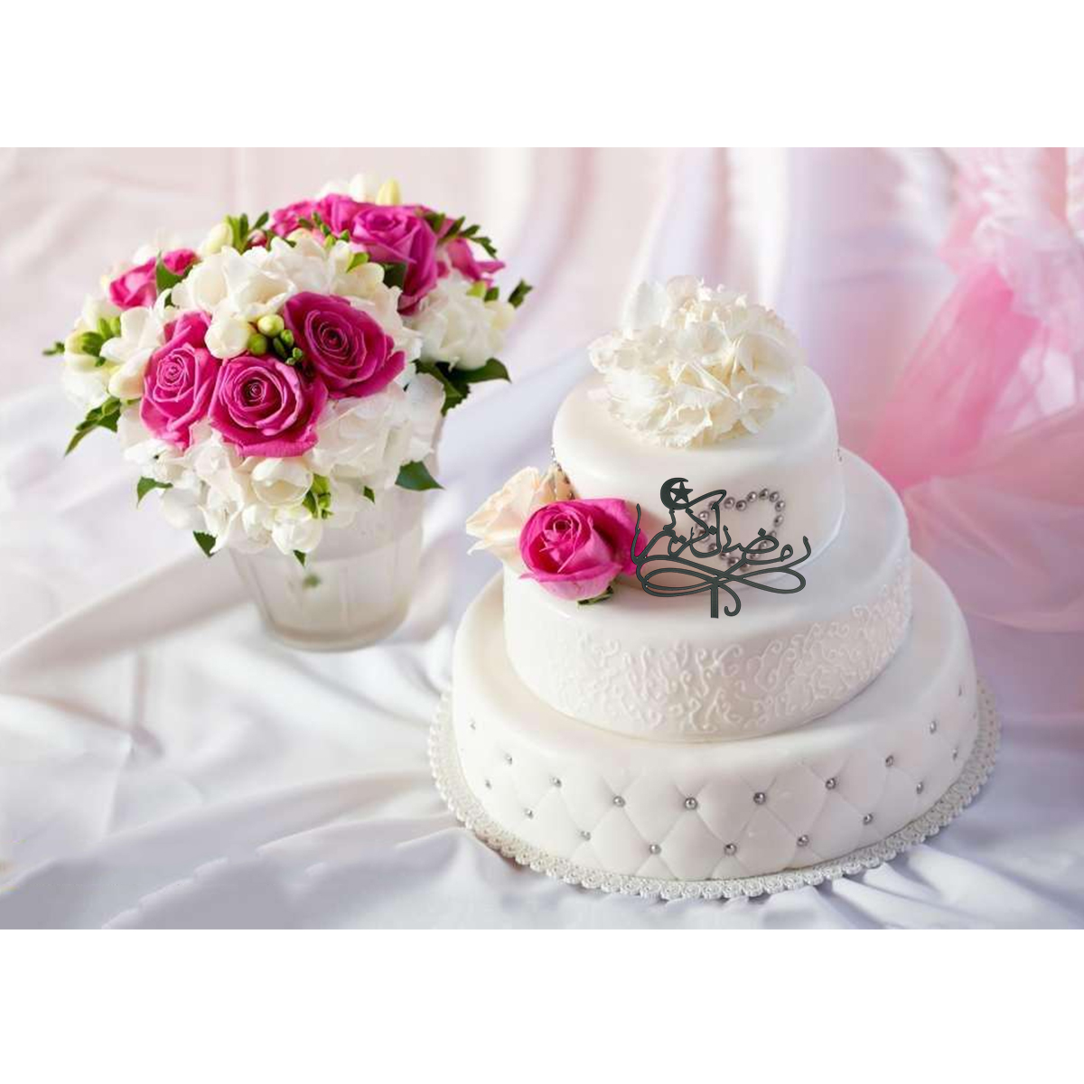 Cake Topper Muslim Islam Eid Mubarak Festival Acrylic Mirror Cupcake Flag Food Pick Favors Supplies for Eid Decor