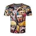 Новый 2017 Лето 3D печати Футболка Мужчины Walking Dead Men T рубашки Уокер Череп Зомби Высокое Качество Crewneck С Коротким Рукавом Топ Тис