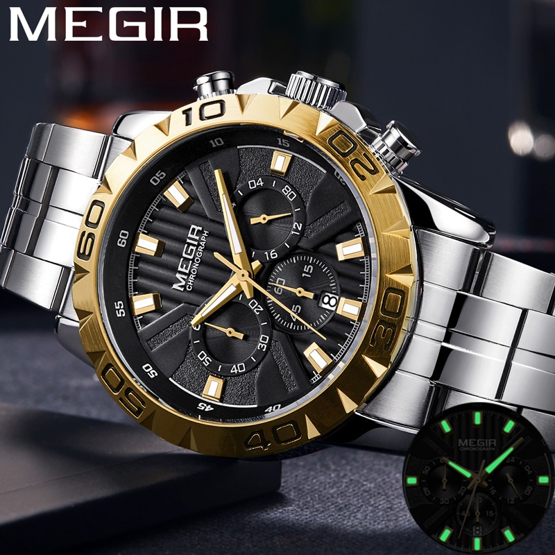 MEGIR Men Watch Chronograph 2087 Stainless-Steel Military Luxury Clock Top-Brand Sport
