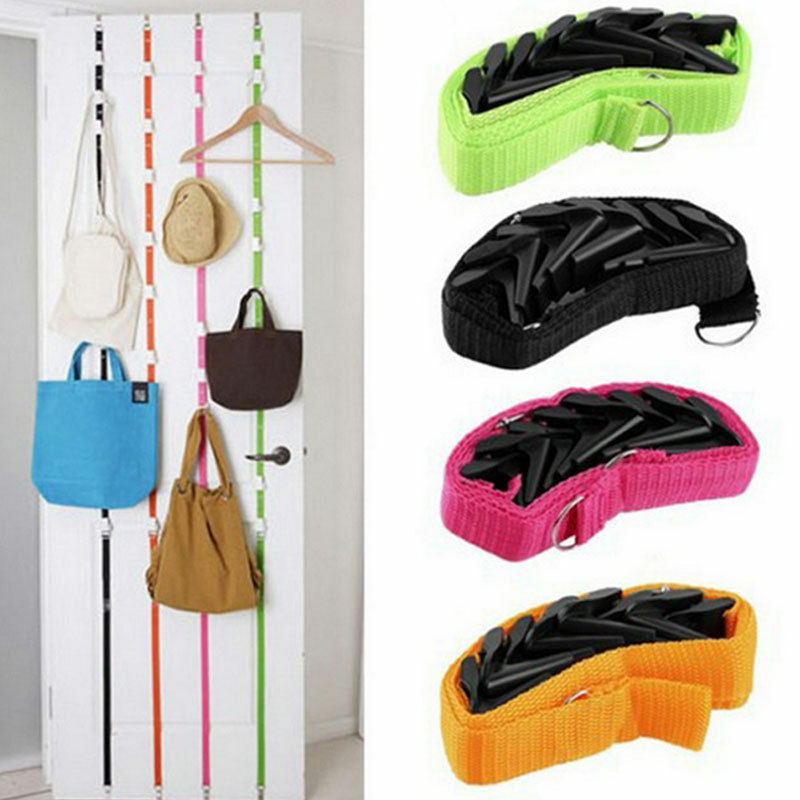 Popular Adjustable Over Door Straps Hanger Hat Bag Coat Clothes Rack 8 Hooks New Solid Color Home Storage