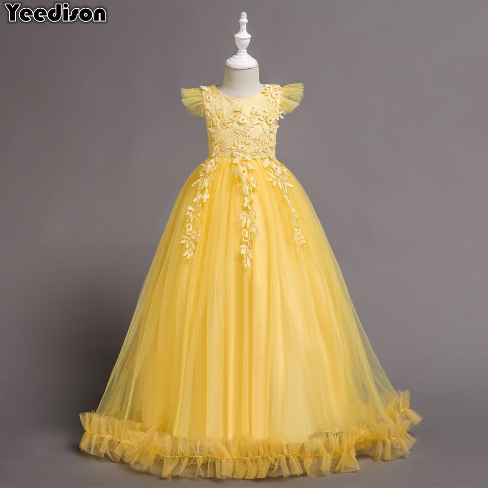 Flower Girl Dresses For Wedding Party 2018 Tule Teen Princess Dress Children Evening Clothing Kids Clothes Girls 8 to 12 14 Year baby 2017 flower children s girl costumes for kids princess party wedding dresses girls clothes teen girl evening dress