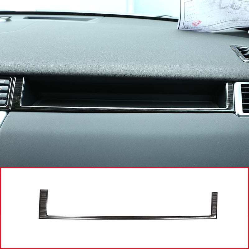 Stainless Steel Black Brushed Car Inner Co-Pilot Decration Frame Trim Kit Accessories For Land Rover Discovery Sport 2015-18 black silver stainless steel car outside rear bumper guard plate for land rover discovery sport 2015 2018 car accessories
