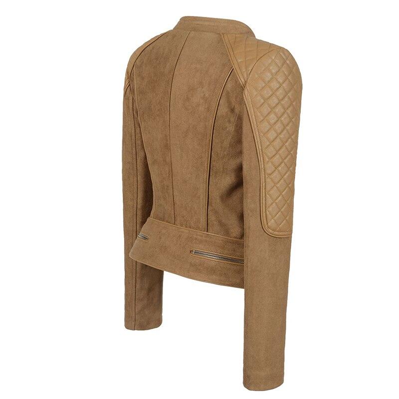 Manteaux L'europe Vestes Chameau Femme Survêtement Mince Star Courts Couleur Camel Style Fashion Color Femmes Street Slim Taille Faux Peaux Grande Cuir En q0t0r