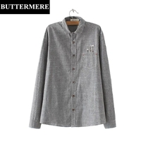 BUTTERMERE Linen Blouses Plus Size 3XL Casual Embroidery Blouse Blue Grey White Striped Shirt Pocket Long
