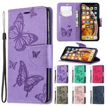 Luxury flip PU leather wallet case for Apple iPhone 6 7 8 Plus 3D butterfly embossed for iPhone X XR XS Max phone case цена 2017