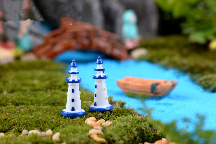 2pcs/lot Decor Lighthouse Figurines Metal Craft Lighthouse Beacon Home Decoration Mariti ...