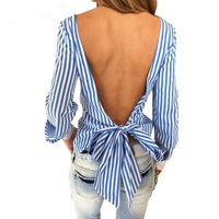 S S Sisters V Back Stripped Shirts Bow Tie Deco For Women Summer Backless Long Sleeve