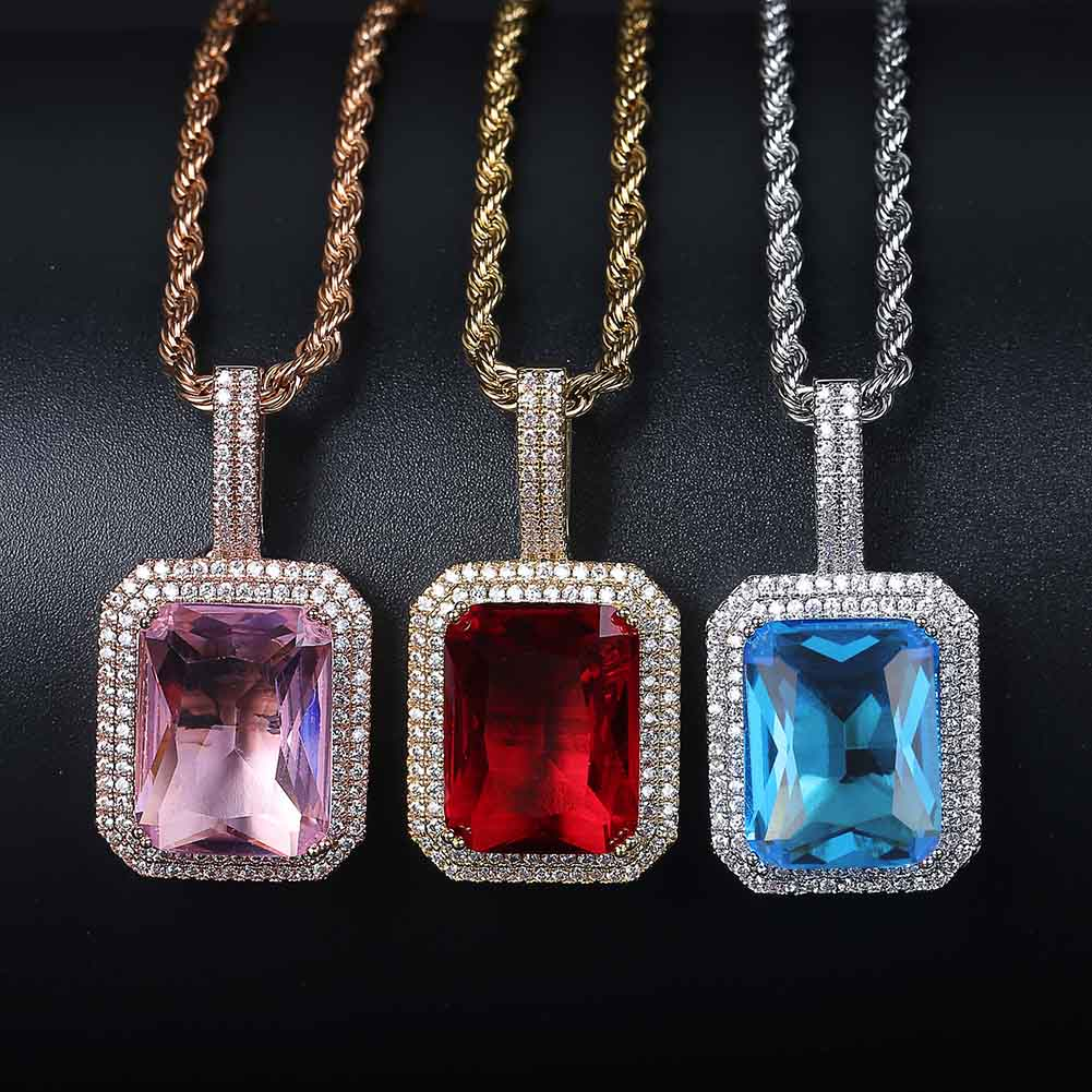 TOPGRILLZ glacé Bling pierres précieuses Solitaire pendentif collier pierres infinies solide dos cubique Zircon Hip Hop bijoux pour cadeau