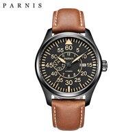 Парнис 44 мм механические часы Miyota 21 Jewels Big pilot военные часы Автоматическая Для мужчин часы 2018 сапфировое стекло наручные часы