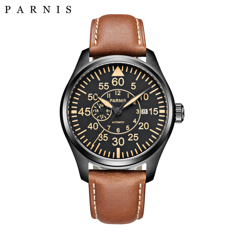Parnis 44mm Mechanical Watches Miyota 21 Jewels Big pilot Military Watch Automatic Men Watch 2018 Sapphire Crystal Wrist Watch таблетки для посудомоечных машин all in one silver 56 шт paclan ра 020014