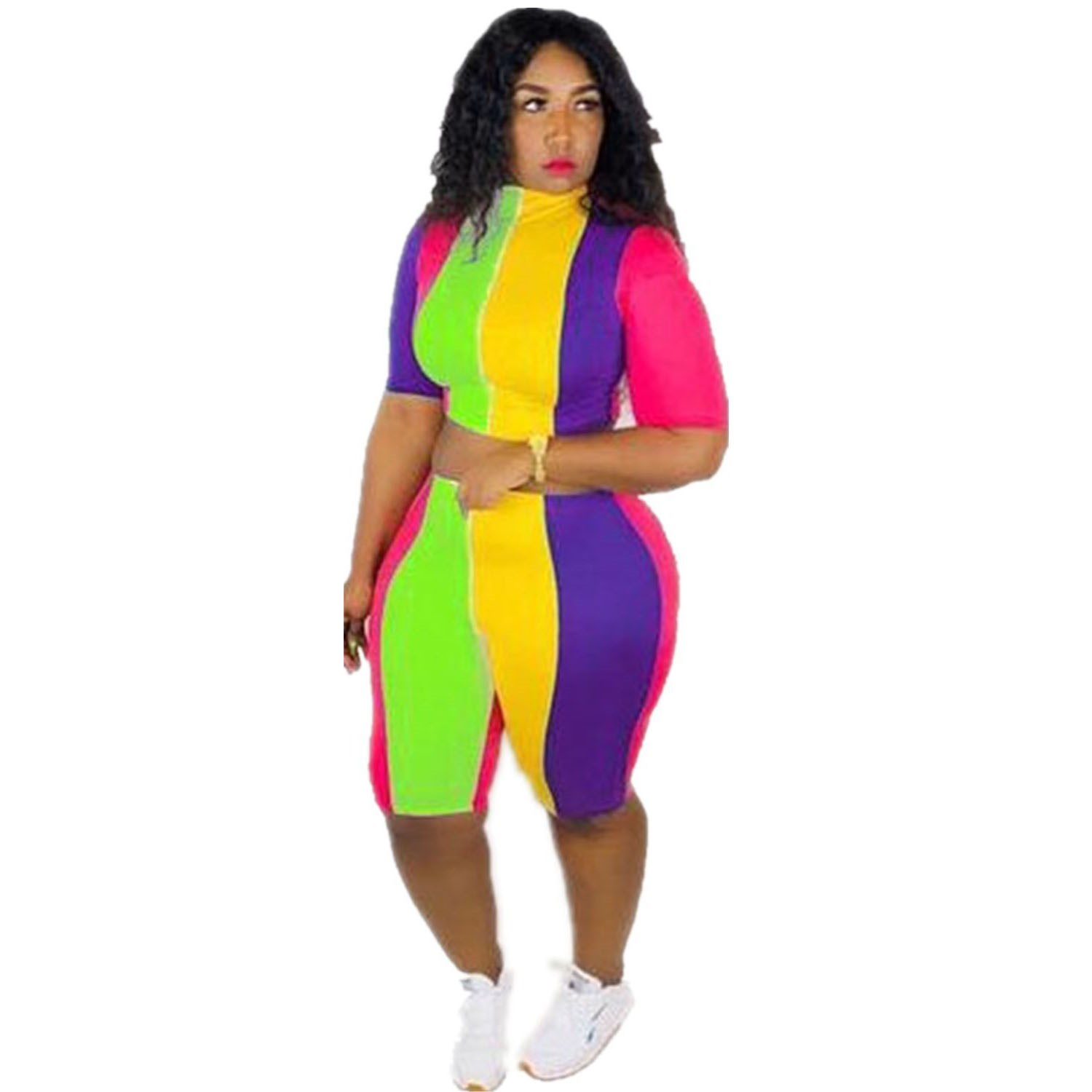 2019-colorful-stripe-shorts-two-piece-set-women-casual-short-sleeve-crop-top-bodycon-biker-shorts-sexy-matching-sets-tracksuit