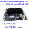 Itx-d525 D525MW INTEL ATOM CPU motherboard fanless INTEL mini-itx POS ATM motherboard all in one motherboard slot PCI suporte