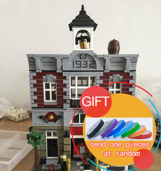 15004 2313Pcs City Street Fire Brigade Model Building Kits Blocks Bricks Compatible 10197 toy lepin lepin 15004 2313pcs city creator series fire brigade model building blocks bricks toys for children gift compatible 10197