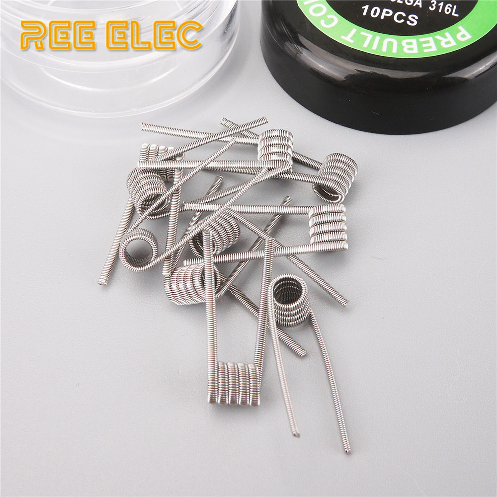 цены на REE ELEC 10pcs Prebuilt Coil Alien Tiger Fused Clapton Mix Twisted Flat Twisted HIVE QUAD Premade Coils For RDA RTA Atomizer