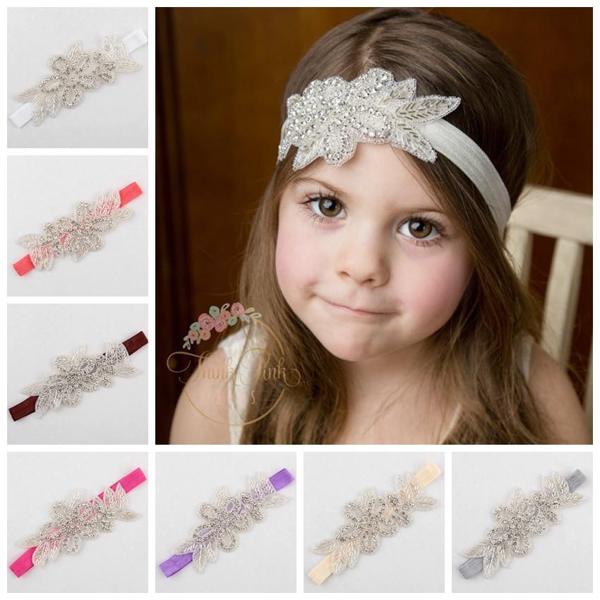 Yundfly Baby Girls Crystal Flower Hair Band Leaf Christening Bridal Elastic Headband Rhinestone Headwear Photography Props