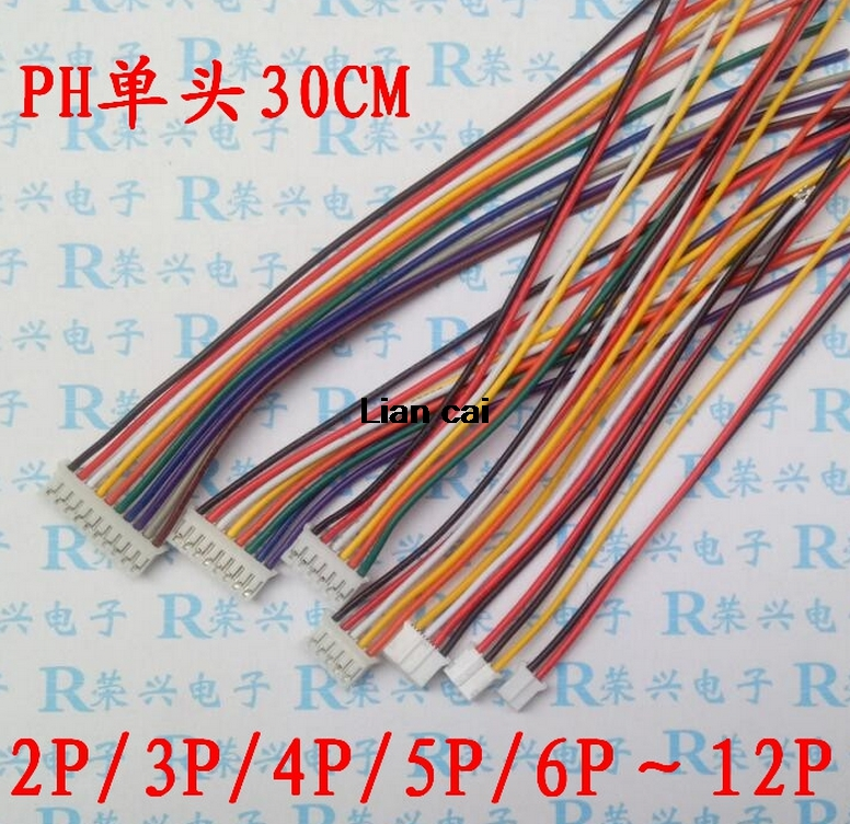 10pcs/lot Mini Micro JST 2.0 PH 2/3/4/5/6/7/8/9/10-Pin Connector Plug With Wires Cables 300MM 26AWG New S18 Drop Ship