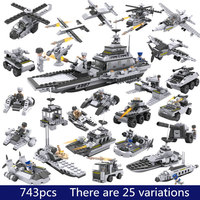 743pcs Legopings 8 In 1 Can Build 25 Models Military Ship DIY Building Blocks Kit Model Building Kits Boys Gifts for Christmas