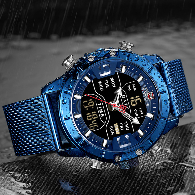 NAVIFORCE Men's Dual Display Mesh Belt Military Waterproof LED Clock Sports Quartz Watches 3
