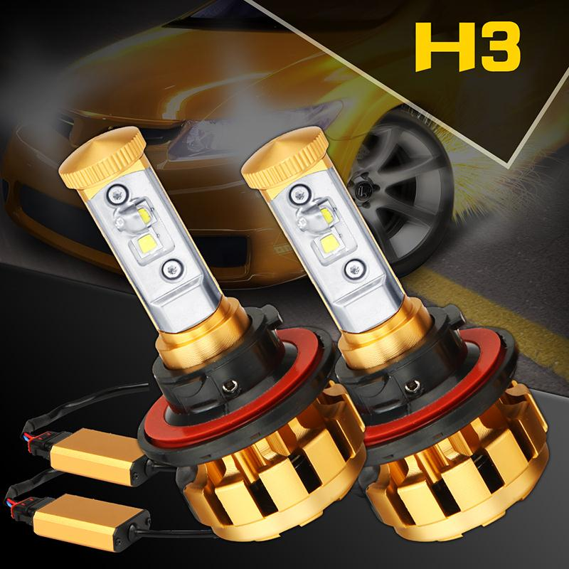Ironwalls 2x 60W 6000K H3 Plug Style Car High Power Cree Chips Headlight Led Front Lamp
