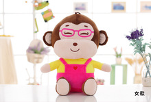new creative lovely pink cloth monkey toy font b stuffed b font glasses girl monkey doll