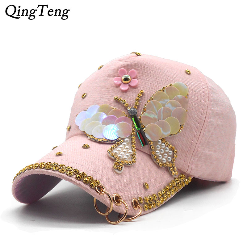 763bfcfea US $9.98 |Luxury Women Baseball Cap Brand Bling butterfly Pearl Sequins Hip  Hop Cap Vintage Snap Back Design Cap Casual Snapback Hat New-in Baseball ...