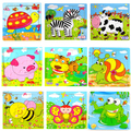 Wooden puzzles-children's educational toys cartoon animals puzzle wooden toy toy-gift