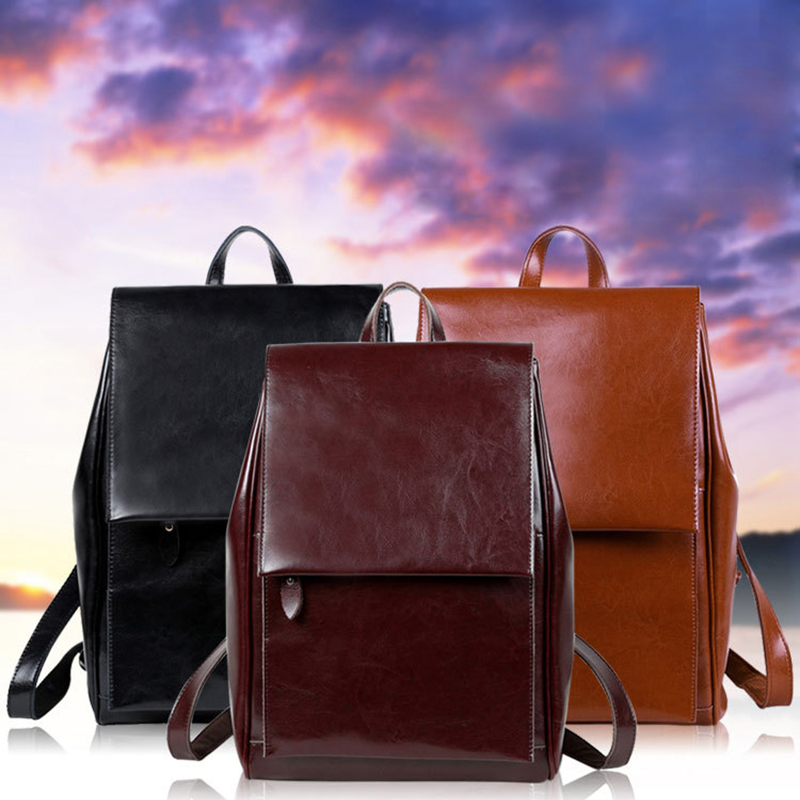 2017 Korean New Style Fashion Solid Genuine Leather Cover Bag Woman Leisure Travel Soft Oil Wax Cowhide Large Capacity Backpack women s oil wax genuine cowhide leather backpack lady girl school bag crossbody shoulder travel bag for woman mr1037
