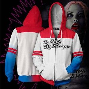 Image 1 - Chaqueta con capucha de Harley Quinn para hombre y mujer, disfraz de Cosplay, chaqueta