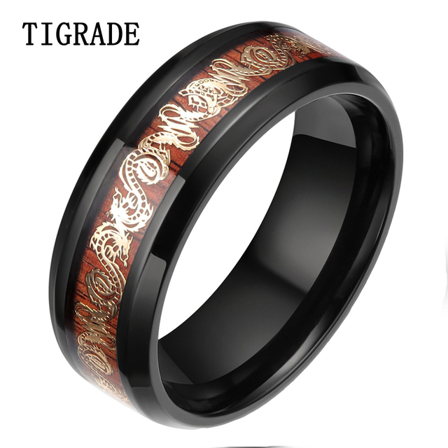 Tigrade 8mm Gold Dragon Anium Ring Men Black Edges Wood Inlay Wedding Band Fashion Finger Jewelry