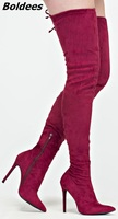 Fashion Over the Knee High Boots Women Classy Red Suede Sexy Slim Fit Pointy Stiletto Heel Boots Trend Plain Dress Shoes