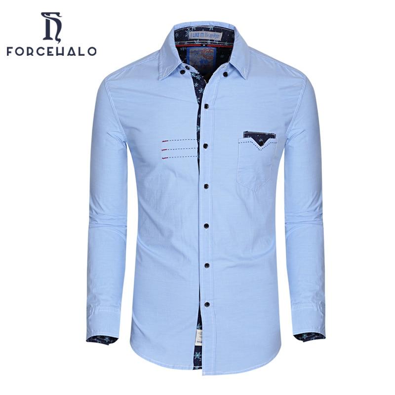 2016 Famous Brand Men Shirts Casual Pocket Design Dress