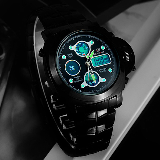 Men Luxury Electronic LED Digital And Analog Wristwatch 4