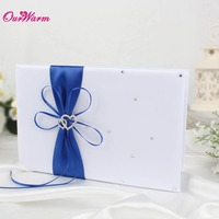 25cm 16cm Wedding Guest Book Set With Satin Ribbon Bowknot Guest Signature Book For Wedding Decoration