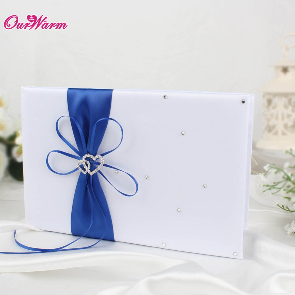 25cm*16cm Wedding Guest Book Set with Satin Ribbon Bowknot Guest ...