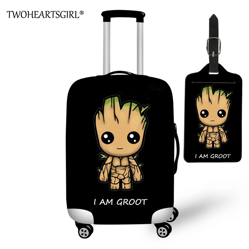 TWOHEARTSGIRL Travel Accessories Cartoon I Am Groot Print Luggage Covers For Trolley Suitcase Elastic Luggage Protective Covers