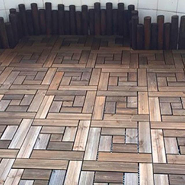 Past Square Wood Floor Brown Chinese Fir Bare Decor Interlocking Flooring Tiles In Solid Teak Oiled Finish