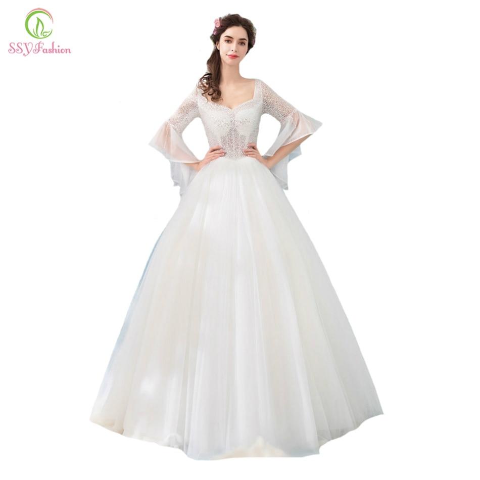 Ssyfashion Long Sleeve Wedding Dresses The Bride Elegant: SSYFashion 2018 New Wedding Dress The Bride Luxury Crystal