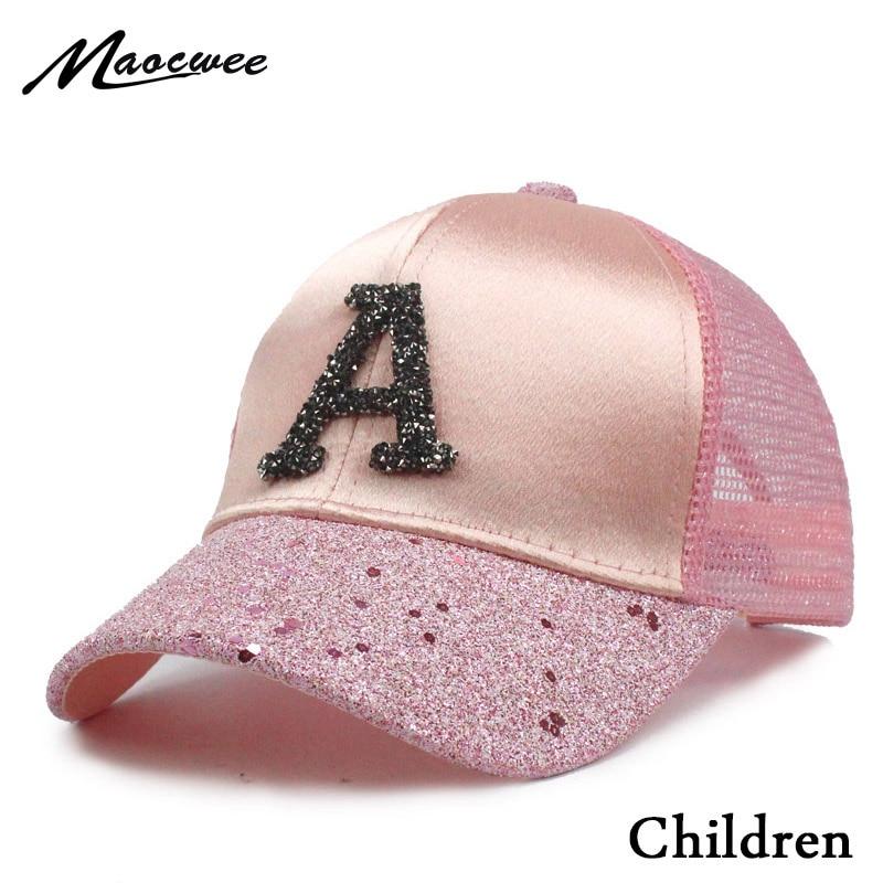 2018 Sequins Child Mesh Hats Kids Snapback Baseball Cap With Letter A Funny Hats Spring Summer Hip Hop Boy Hats Sun Caps Bones